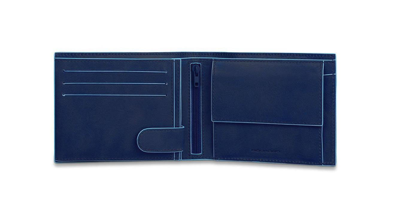 3a0dbe84a3 Piquadro Portafoglio uomo con portamonete, porta carte di credito e doppio  volantino Blue Square - PU3436B2/BLU2 - FeliceCasucci.it