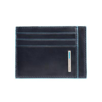 PORTA CARTE DI CREDITO IN PELLEGRIGIO SCURO BLUE SQUARE